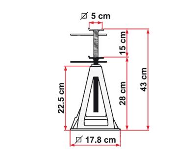 Fiamma Aluminium jack dimensions