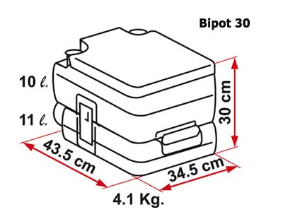 Fiamma BiPot 30 portable toilet dimensions