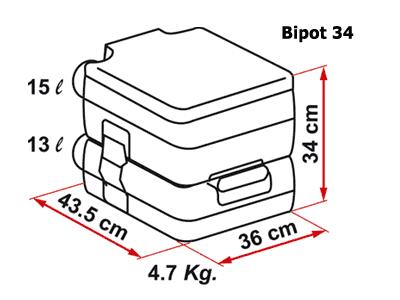 Fiamma BiPot 34 portable toilet dimensions