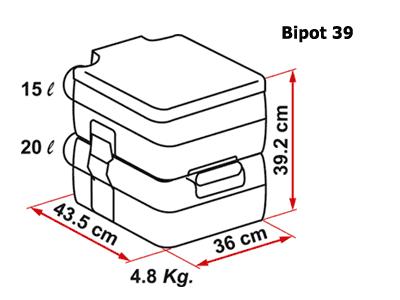 Fiamma BiPot 39 portable toilet dimensions
