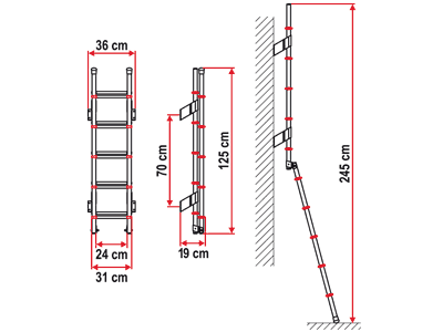 Double length 5 step ladder for taller motorhomes