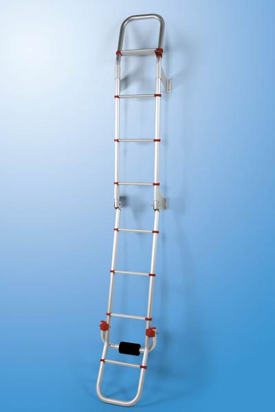Fiamma Deluxe 8 ladder can be folded away