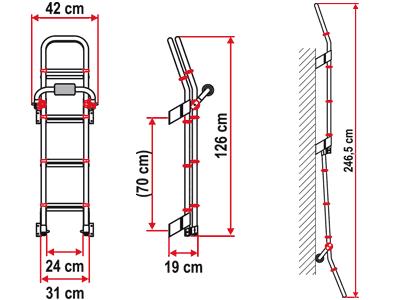 Deluxe 8 folding exterior laddder dor motor caravan and motorhomes