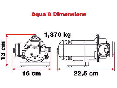 Aqua 8 self-priming pump dimensions