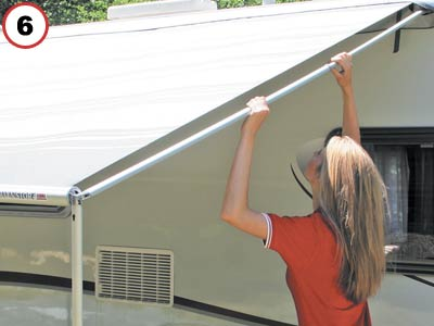 Tension awning rafter bar