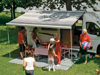 Fiamma F65 canopy provides a large shaded are to your motorhome