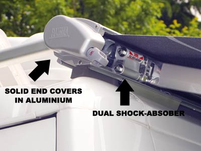 Dual shock absorber and solid end covers