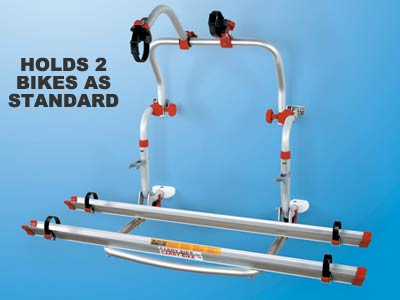 Compact motorhome bike carrier fits 2 bikes as standard