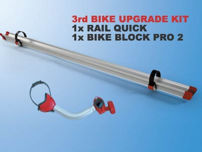 Bike carrier upgrade kit includes quick rail and bike block