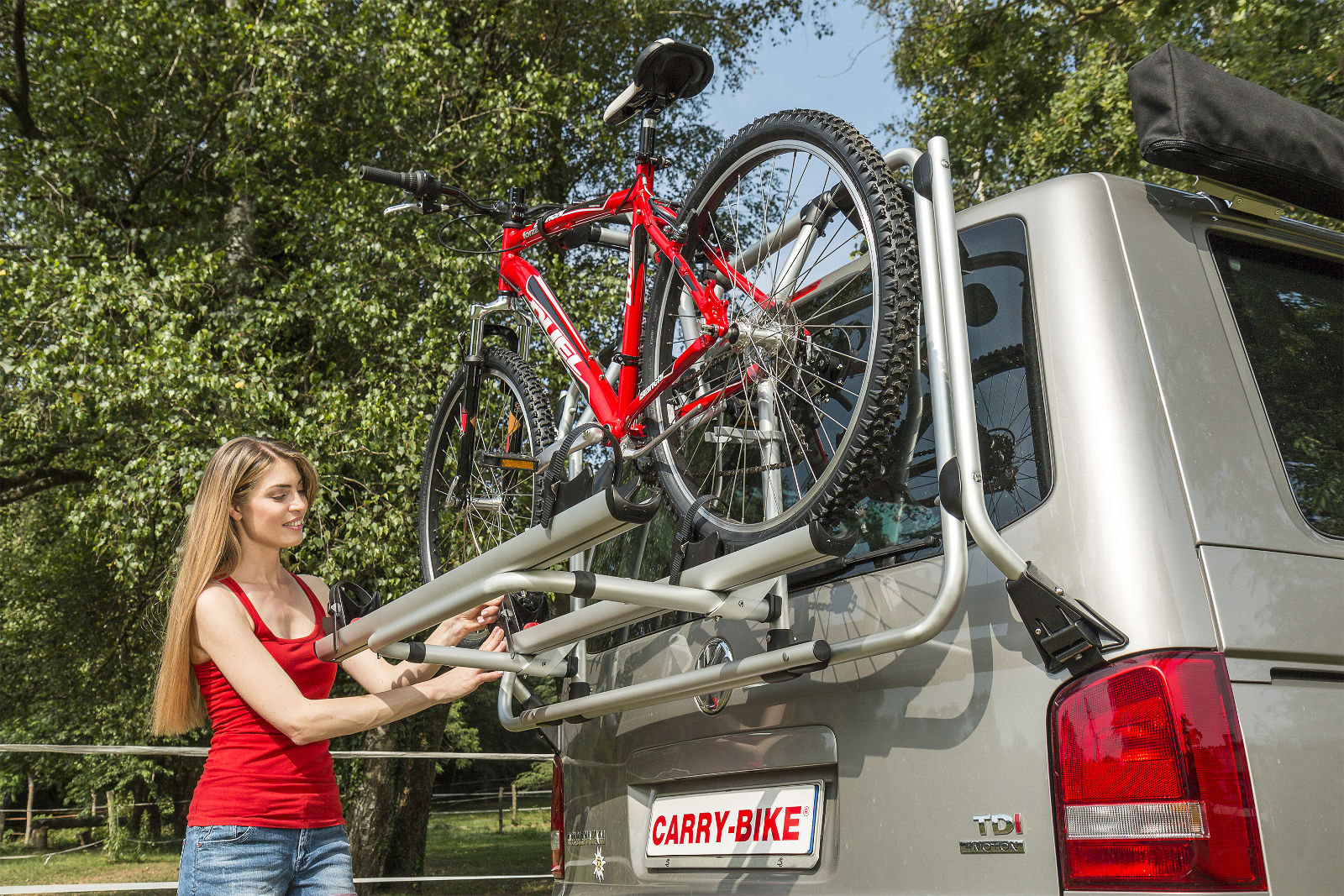Fiamma Carry Bike T5 Pro sits above number plate and vehicle lights