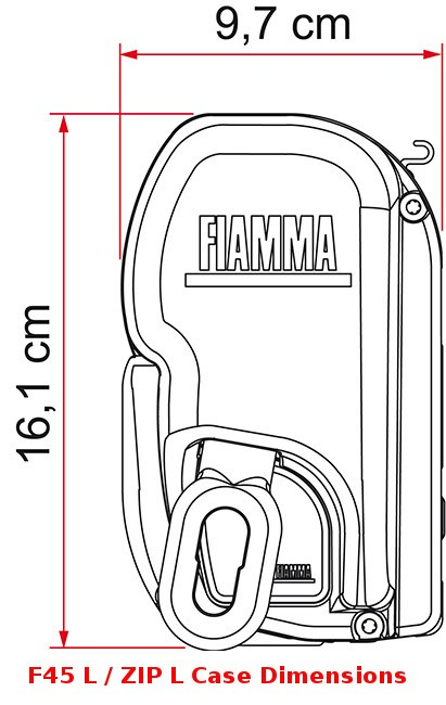 Fiamma F45 L awning case is 16.1cm tall