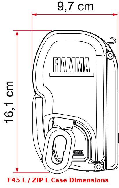 Fiamma F45 L awning case is 16.1cm tall
