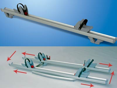 Allows rail to slide vertically and horizontally