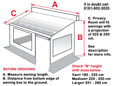 Mesure your awning to ensure you order the correct Privacy Room
