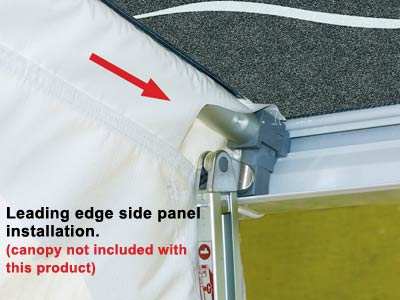Side Panel Poles Clips To Awning Leg Bracket