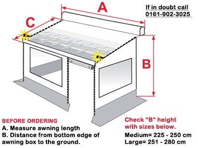 Measure your awning to ensure you order the correct Privacy Room