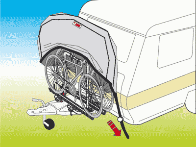 Elasticated base makes the Fiamma Bike cover easy to remove