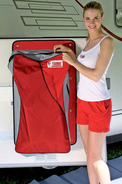 Storage bag for mounting inside motorhome garage door