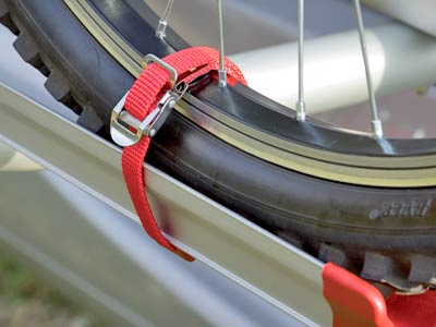Strong strap to secure bikes wheels to most bike carriers