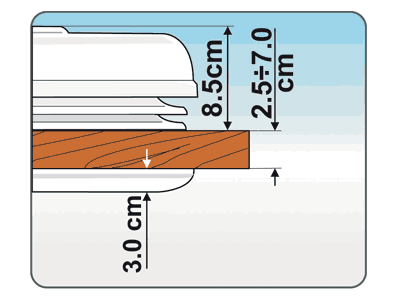 Suitable for roof thicknesses from 2.5 to 7cm