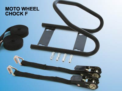 Secure your motorbike wheel with bolt down chock and straps