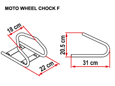 Fiamma Moto Wheel Chock front dimensions