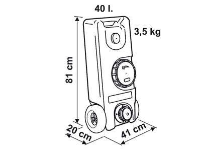 Fiamma Roll Tank 40 fresh water tank Dimensions