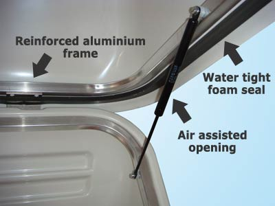 Water tight seals and assisted lid opening