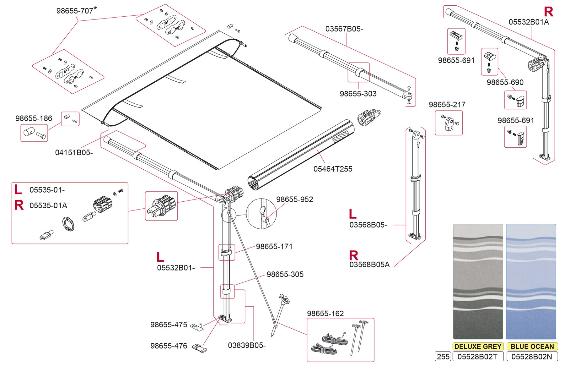 Fiamma Awnings Bike Rack And Ultra Box For Motorhome Click On Schematic To Magnify Mouse Over Above Image Or Open In A New Window Select Your Parts From The List Below